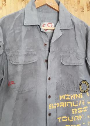 Крутая дизайнерская  льняная рубашка бойфренд надписи наклейки...