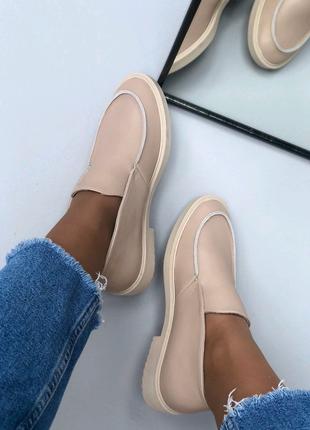 Женские натуральные кожанные туфли ботинки лоферы