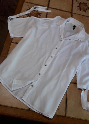 Блуза открытые плечи рубашка вискоза