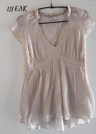 Шелковая бежевая блузка шелк 100%