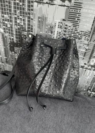 Кожаная сумочка мешок женская