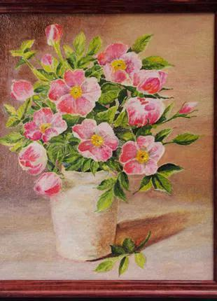 "Картина ""Букет шиповника"" (натюрморт, цветы) холст, масло"