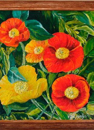 "Картина ""Маки"" (цветы, холст, масло) 29х29 см"