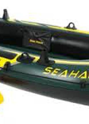 Двухместная надувная лодка Intex 68347 Seahawk 2 Set с веслами и