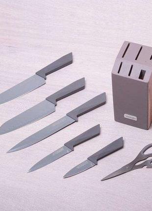 Набор кухонных ножей на деревянной подставке 7 пр Kamille