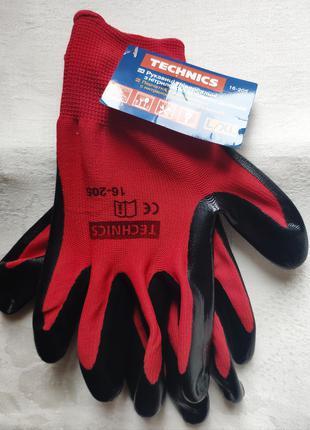 Перчатки рабочие Technics с покрытием красно-черные