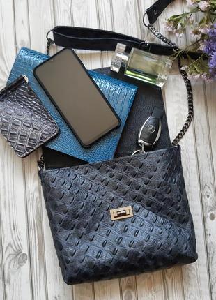 Кожаная сумочка клатч женская