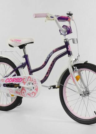 Двухколесный детский велосипед 18 дюймов Т-85234 фиолетовый