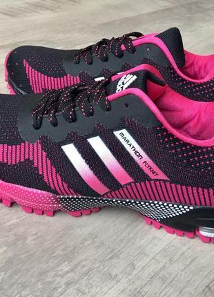 Кроссовки marathon flyknit черно розовые