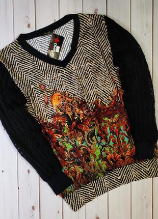 Женский свитер,блуза с оригинальным принтом и стразами с вязан...