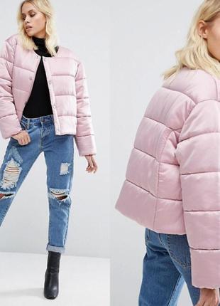 Укороченная легкая куртка пуховик asos оверсайз