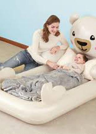 Детская надувная односпальная велюр-кровать Bestway Мишка Teddy 6