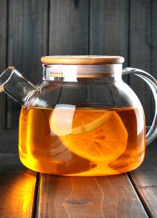 Чайник из жаропрочного стекла с деревянной крышкой 1000 мл