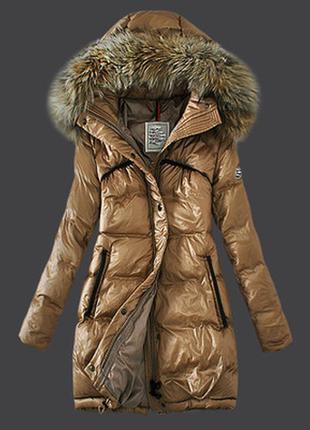 Бежевое женское пальто пуховик moncler с-м