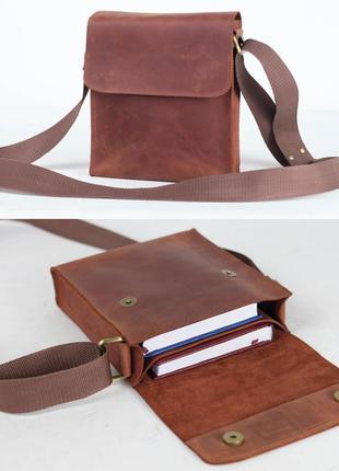 Мужская сумка на 2 отдела из натуральной кожи коричневая цвета...