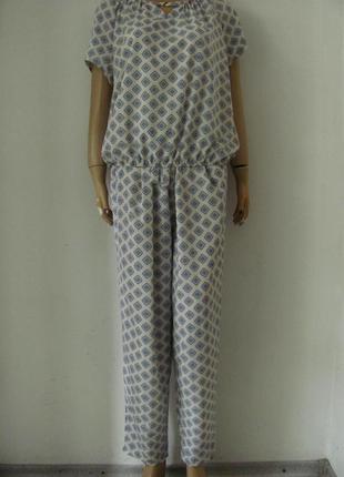 Костюм летний женский брючный из ткани софт, брюки свободные р...