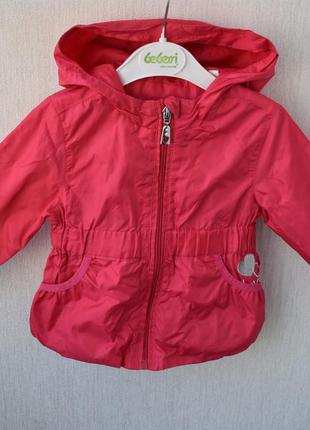 Ветровка куртка дождевик для девочки 9-12 мес розовая