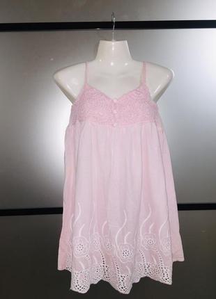 Легкое нежное розовое хлопковое мини платье туника на бретельк...