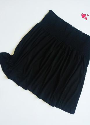 Юбка h&m трикотажная на широкой резинке, одежда в стиле кэжуал