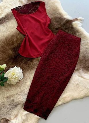 Комплект: блузка с гипюровой спиной и юбкой