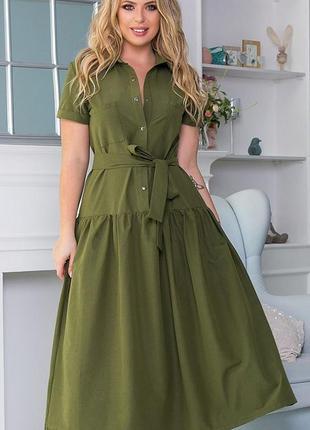 Весеннее платье свободного кроя коттон большие размеры