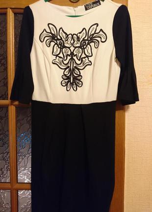 Новое черно белое нарядное платье love republic