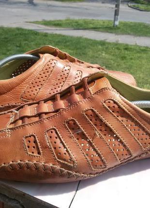 Мокасины, летние туфли из натуральной кожи на широкую стопу