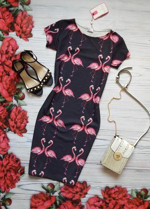 🌿элегантное платье миди с фламинго. размер m-l🌿