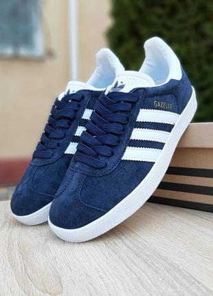 Adidas gazelle 🔺 женские кроссовки адидас газели синие с белым