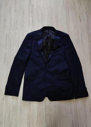 Распродажа до 30 июня 🔥 темно синий пиджак с атласными вставками