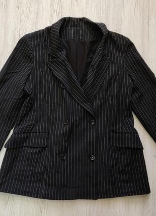 Распродажа до 30 июня 🔥 черный пиджак жакет в полоску