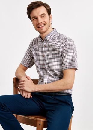 Белая мужская рубашка lc waikiki с коротким рукавом, в бордово...