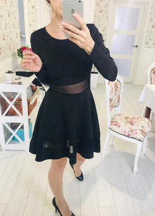 Черное платье с пышной юбкой и прозрачными вставками  missguided