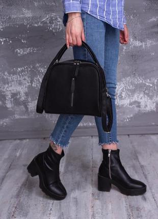 Женская кожаная сумка через плечо черная бочонок наплечный