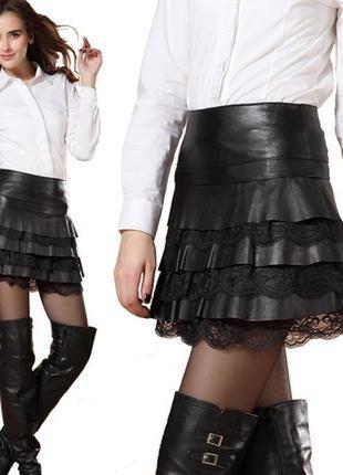 Красивая юбка из 100 % мягенькой кожи с лазеркой/юбка кожаная/...