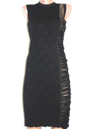 Модельное платье без рукавов 2-х цветное футляр, шерсть clips ...