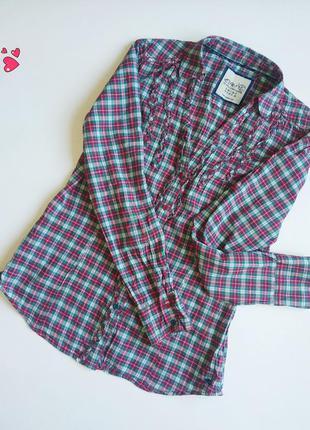 Рубашка esprit, блуза в клетку с рюшами, молодежная одежда