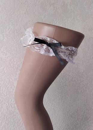 Белая подвязка на ногу для чулок, подвязка невесты