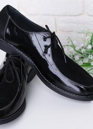 Туфли женские на шнурках лаковые кожаные замшевые стильные