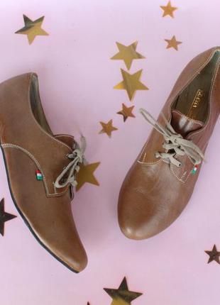 Кожаные туфли на шнурках, оксфорды, броги, дерби 39 размера