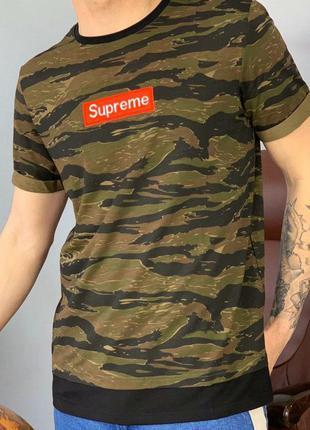 Мужская камуфляжная футболка с логотипом supreme, суприм