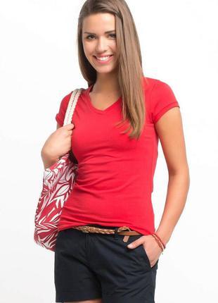 Женская футболка красная de facto/де факто с v-образным вырезом