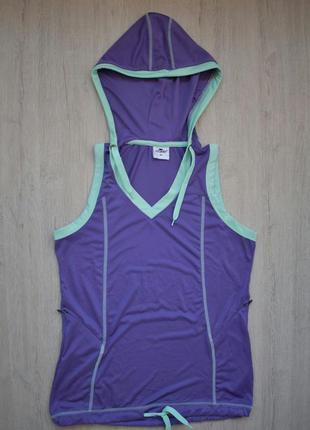 Майка футбока жилетка для бега йоги с капюшоном вещи для спорт...