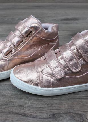 Золотистые кеды ботинки tu на липучках 35-36 размер кросівки ту