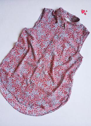 Блуза h&m свободного кроя,рубашка без рукавов, туника в цветоч...