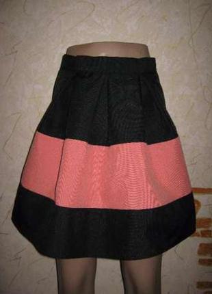 Юбка со складками черная с персиковым