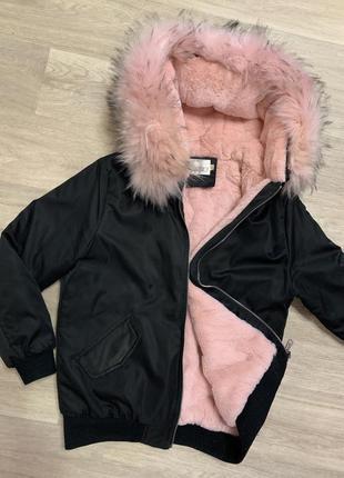 Куртка парка с шикарным розовым мехом