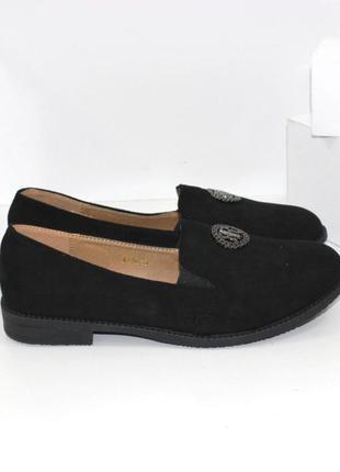 Женские замшевые черные туфли мокасины низкий каблук