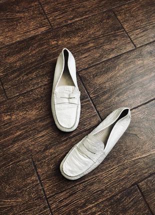 Кожаные мужские белые итальянские туфли