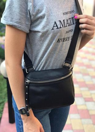 Женская кожаная сумка polina & eiterou через плечо поясная